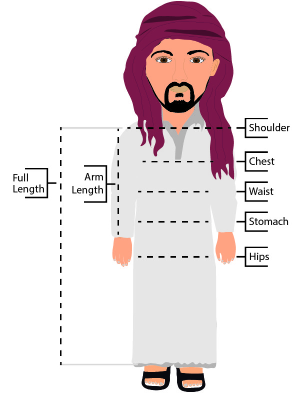 Al Thawb Size Guide with a Cartoon of a man wearing a thawb