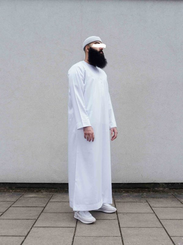 White thawb full length right
