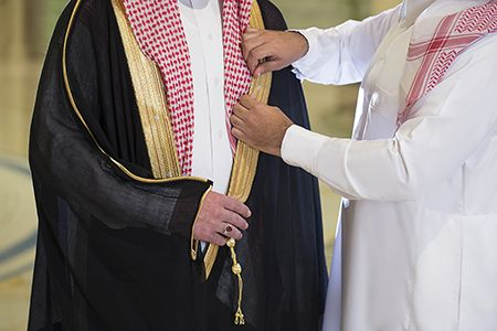 bisht arab black cloak worn over a thawb for special occasions