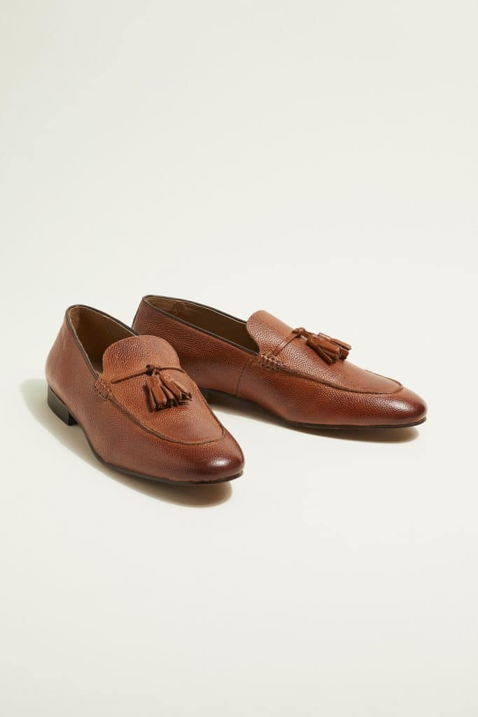 brown casual loafer shoes